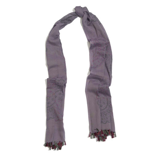 100% Cotton Flowers Printed Purple and Black Colour Scarf (Size 175x105 Cm)