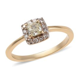 9K Yellow Gold Natural Yellow Diamond (Cush), White Diamond Ring 0.50 Ct.
