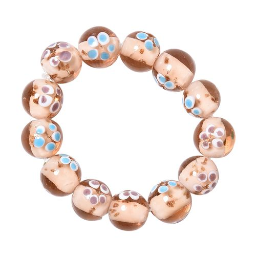 Peach Colour Murano Glass Stretchable Beads Bracelet (Size 7)