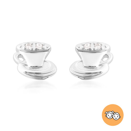 RACHEL GALLEY - Natural Cambodian Zircon Tea-Cup and Saucer Stud Earrings (with Push Back) in Rhodiu