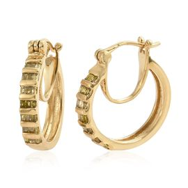 Yellow Diamond (Bgt) Hoop Earrings (with Clasp Lock) in 14K Gold Overlay Sterling Silver 0.500 Ct.