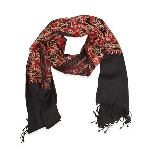 Limited Available - 100% Merino Wool Floral Embroidered Black, Red and Multi Colour Shawl (Size 200x