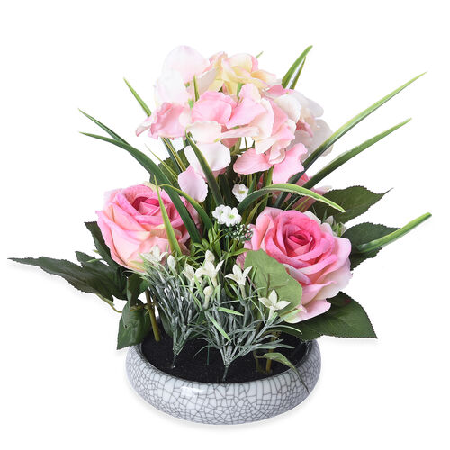 1 Head Hydrangea and 3 Heads Roses Decorative Flower Arrangement in Ceramic Pot (Height: 30Cm) - Pin