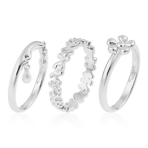 Set of 3 - LucyQ Splash, Full Splat and Double Drip Ring in Rhodium Plated Sterling Silver 6.89 Gms.
