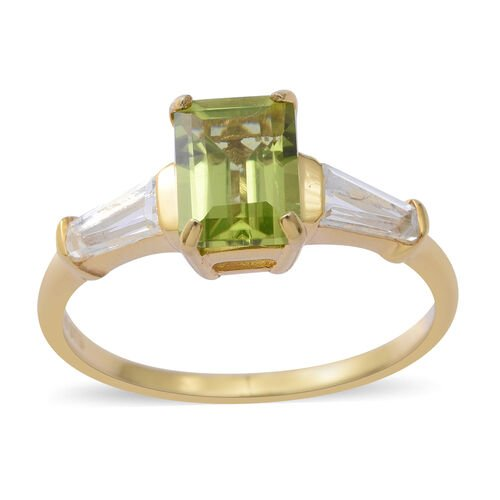 Rare Cut Hebei Peridot (Oct 1.75 Ct), White Topaz Ring in Yellow Gold Overlay Sterling Silver 1.97 C