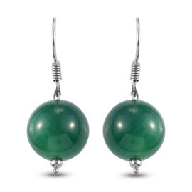 Green Agate Hook Earrings in Platinum Overlay Sterling Silver 23.280  Ct.