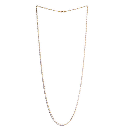 Yellow Gold Overlay Sterling Silver Hammered Chain (Size 30)