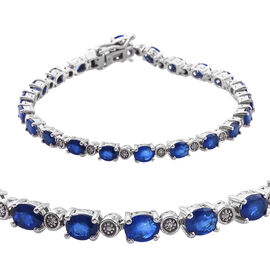8 Carat Blue Spinel and Diamond Tennis Bracelet in Platinum Plated Sterling Silver 9.1 Grams