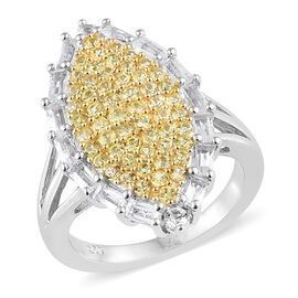 Chanthaburi Yellow Sapphire (Rnd), White Topaz Cluster Ring in Platinum and Yellow Gold Overlay Ster