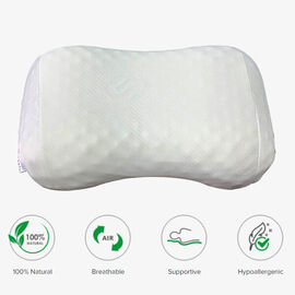 SERENITY NIGHT 100% Natural Latex Pillow and Durain Pillow (Size:53x42x35x9Cm) - White