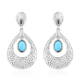 Arizona Sleeping Beauty Turquoise (Ovl 7x5 mm) Teardrop Earrings (with Push Back) in Platinum Overla