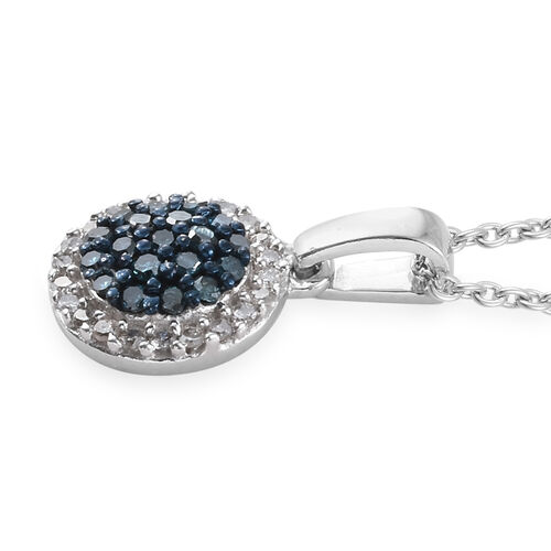 Blue Diamond (Rnd), White Diamond Pendant With Chain in Platinum Overlay Sterling Silver 0.330 Ct.