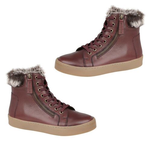 Lotus Siobhan Leather Stressless Sneakers with Faux Fur Lining (Size 5) - Burgundy