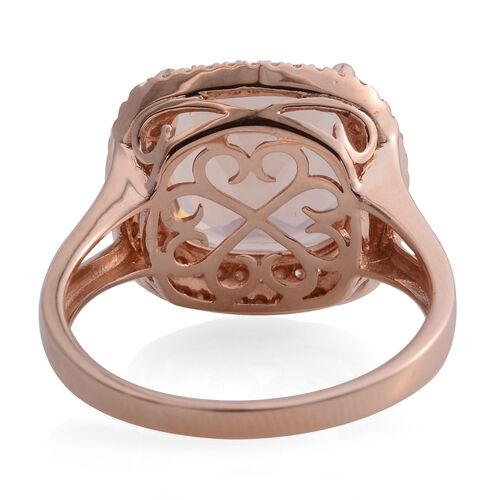 Super Auction- ILIANA 18K Rose Gold AAA Maroppino Morganite (Cush 12mm, 6.50 Ct) and Diamond (SI/G-H) Ring 6.920 Ct.