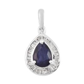 Masoala Sapphire and Diamond Pendant in Platinum Overlay Sterling Silver 1.19 Ct.