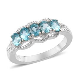 Paraibe Apatite (Ovl) Ring (Size S) in Sterling Silver 1.00 Ct.