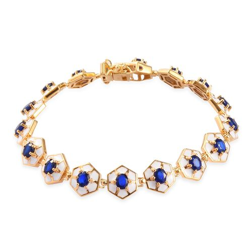 Tanzanian Blue Spinel Enamelled Bracelet (Size 7.5) in 14K Gold Overlay Sterling Silver 6.00 Ct, Sil