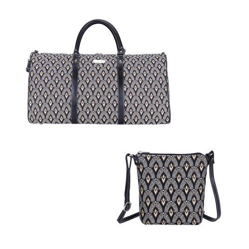 Signare Tapestry - 2 Piece Set - Luxor Art Deco Travel Bag (56X29X33cm) and Sling Bag (56X29X33cm) i