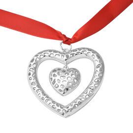 RACHEL GALLEY Lattice Heart Charm with Ribbon in Silver Tone