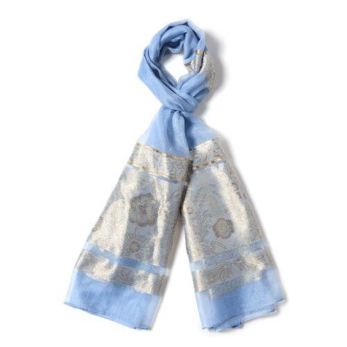 Blue Colour Shiny Plum Blossom Pattern with Golden Colour Strip Scarf (Size 190x75 Cm)