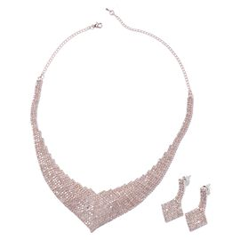 2 Piece Set White Austrian Crystal Necklace and Earrings in Rose Gold Tone 16 with 5 inch Extender