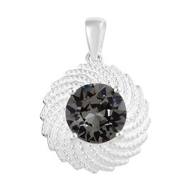 J Francis - Crystal from Swarovski Black Diamond Crystal (Rnd 10 mm) Pendant in Sterling Silver