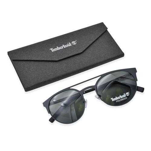 TIMBERLAND Black Round Sunglasses with Black Lenses