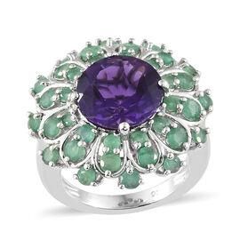 Amethyst (Rnd 4.25 Ct), Kagem Zambian Emerald Floral Ring in Platinum Overlay Sterling Silver 6.000