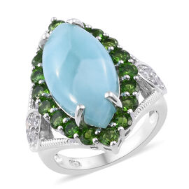 Larimar (Mrq 20x10 mm), Russian Diopside and Natural Cambodian Zircon Ring in Platinum Overlay Sterling Silver 10.000 Ct, Silver wt 5.80 Gms