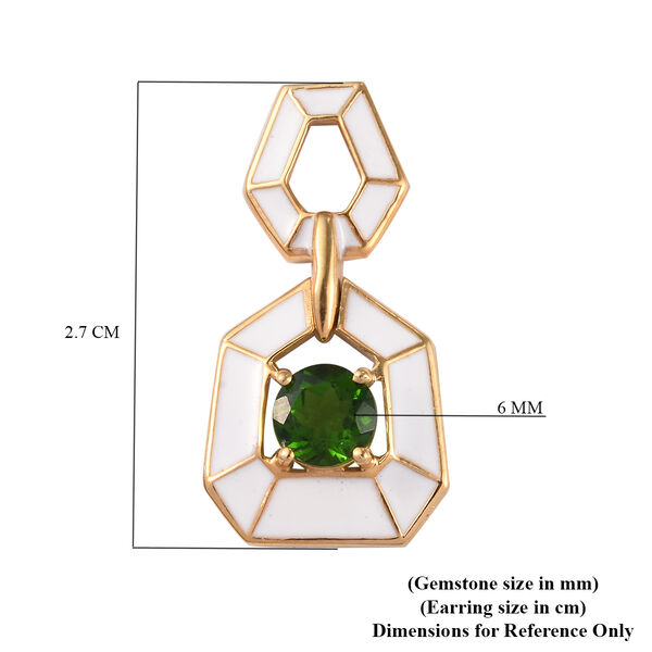 Russian Diopside Enamelled Earrings (with Push Back) in 14K Gold Overlay Sterling Silver 1.75 Ct, Silver wt 5.40 Gms