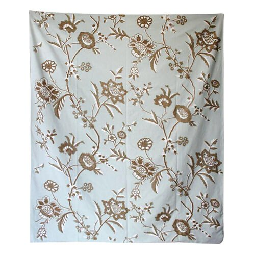 Hand Embroidery from Kashmir-100% Wool on Canvas White, Brown and Multi Colour Floral and Leaves Pat