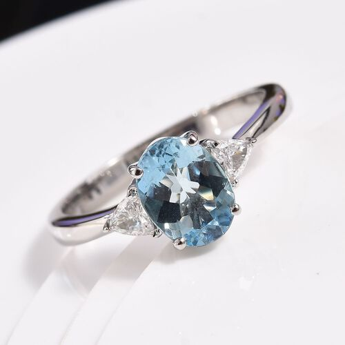 RHAPSODY 950 Platinum AAAA Santa Maria Aquamarine and Diamond (VS/E-F) Ring 1.25 Ct.