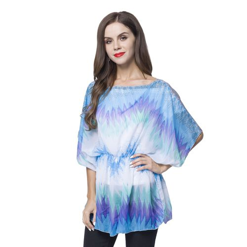 Blue, Green and White Colour Art Colour Lump Pattern Poncho (Free Size)