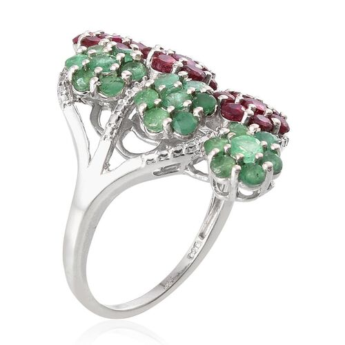 Kagem Zambian Emerald (Rnd), African Ruby Floral Ring in Platinum Overlay Sterling Silver 3.750 Ct.