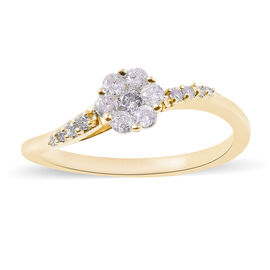 9K Yellow Gold SGL Certified Diamond (Rnd) (SI/G-H) Ring 0.33 Ct.