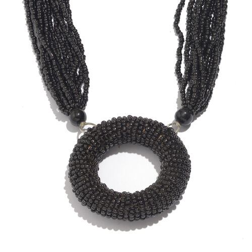Black Colour Seed Beads Necklace (Size 30 with 2 inch Extender) in Silver Tone