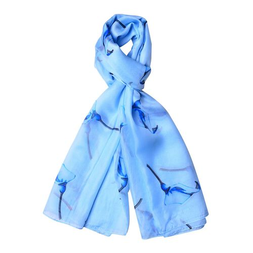 100% Mulberry Silk Light Blue, Black and Dark Blue Colour Calla Lily Pattern Scarf (Size 180X110 Cm)