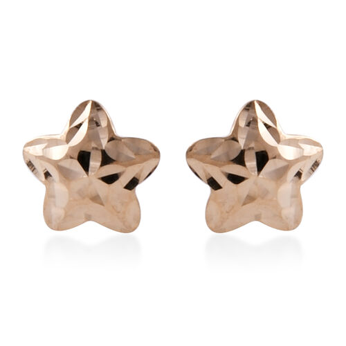 Royal Bali Collection 9K Yellow Gold Diamond Cut Star Stud Earrings (With Push Back)
