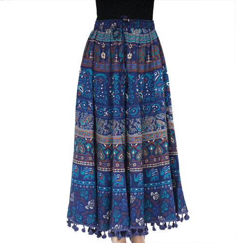 100% Cotton Mandala Print Boho Long Skirt with Tassels (Size 101.5x94cm) - Navy Blue and Light Blue