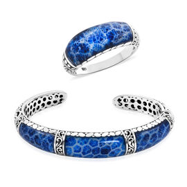 Royal Bali 2 Piece Set Sponge Coral Studded Ring and Cuff Bangle in Silver 29.80 Grams 7.25 Inch