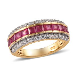 African Ruby (1.15 Ct),Cambodian Zircon 14K Gold Overlay Sterling Silver Ring  2.000  Ct.