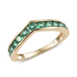9K Yellow Gold AA Kagem Zambian Emerald (Rnd) Wishbone Ring 0.700 Ct.