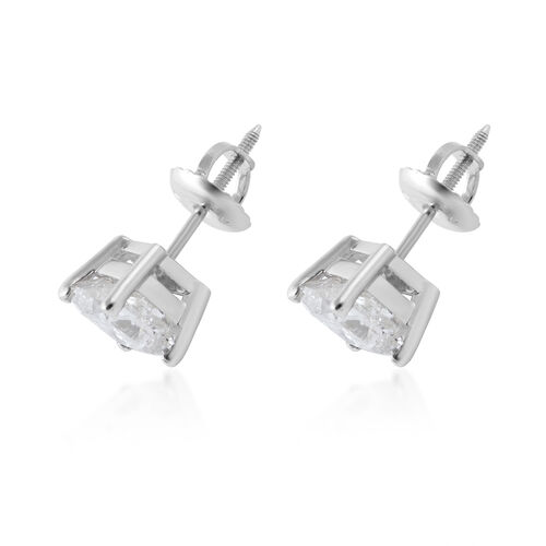 NY Close Out Deal- 14K White Gold Diamond (Princess Cut) (I2/G-H) Earrings (with Screw Back) 2.00 Ct.