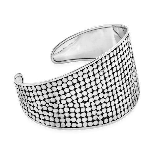 Royal Bali Collection Sterling Silver Wide Cuff Bangle (Size 7.5), Silver wt 34.93 Gms