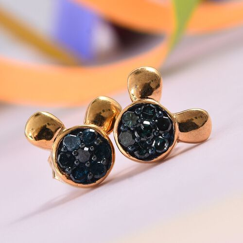 0.33 Ct Blue Diamond Cartoon Face Cluster Stud Earrings in Gold Plated Silver