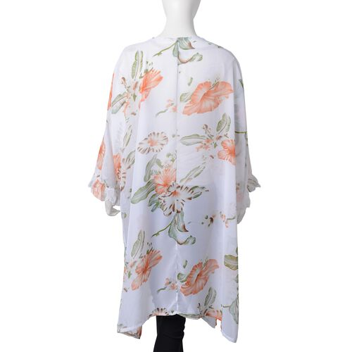 White, Orange, Green and Multi Colour Flower Pattern Kimono with Lotus Leaf Sleeves (Size 100x85 Cm)