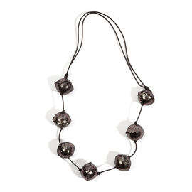 Hand Crafted Sparkle Black Colour Leather Bead Necklace