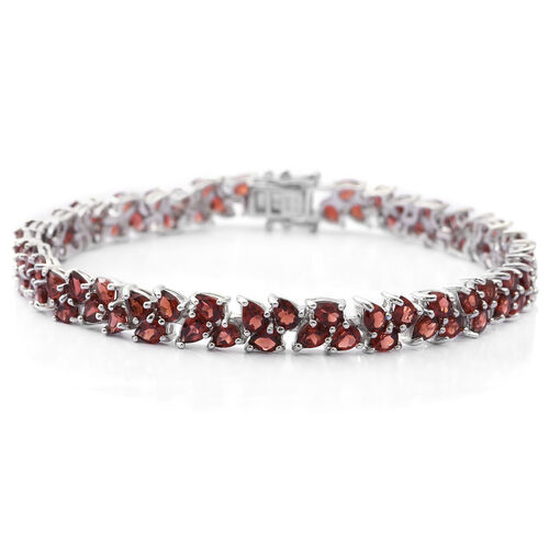 Mozambique Garnet (Pear) Bracelet (Size 7.5) in Rhodium Overlay Sterling Silver 17.000 Ct. Silver wt