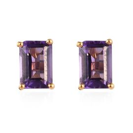 Amethyst (Oct) Stud Earrings (with Push Back) in 14K Gold Overlay Sterling Silver 2.000 Ct.