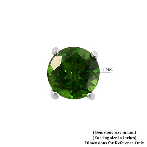 Russian Diopside Stud Earrings in Platinum Overlay Sterling Silver 1.00 Ct